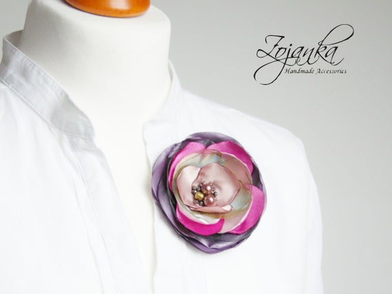 Fabric flower BROOCH Pin Petal Flower Pin Organza handmade pin, floral brooch corsage, elegant flower brooches, gift ideas for her