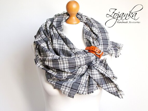 Scarf WRAP shawl, large cotton scarf, lightweight plaid scarf in gray colour, fashion oversized wrap, gift idea, cotton wrap, women shawl