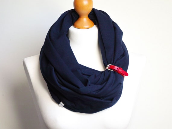 NAVY BLUE Infinity Scarf for women, tube scarf with leather cuff, nautical fashion scarf, cotton infinity scarf, marine style scarf