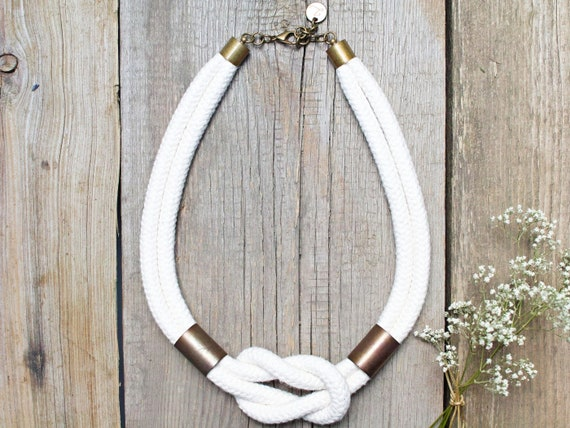 Women cotton rope necklace - rope statement necklace - textile necklace - cotton rope necklace for women - simple jewelry -women accessories