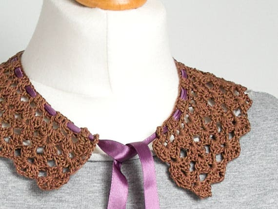RETRO COLLAR Crochet collar, peter pan collar,brown collar necklace, retro style, crochet jewelry, crochet necklace, dettachable collar