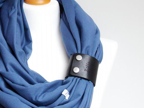 BLUE Infinity scarf, lightweight cotton tube scarf with leather cuff, large infinity tube scarf, autumn fashion, cotton scarf women