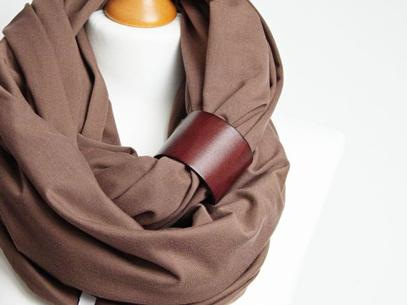 BROWN Infinity scarf for women, cotton tube scarf with leather cuff,  gift ideas for best friend, Christmas gift ideas