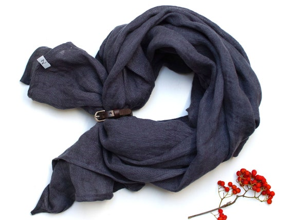 NATURAL soft linen scarf with leather strap, unique linen scarf wrap linen lightweight scarf SHAWL wrap women, pure linen
