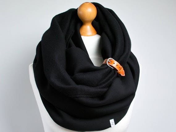 CHUNKY SCARF, extra CHUNKY Infinity Scarf with leather cuff, winter fashion infinity scarf, black chunky scarf, snood, hooded scarf