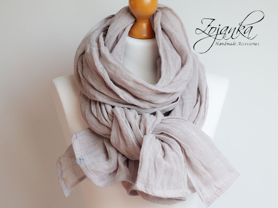 Softened linen scarf, natural linen scarf SHAWL wrap women, pure linen, natural scarf, eco scarf fashion, linen accessories, oversized wrap