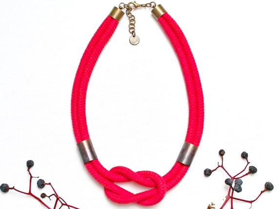Women cotton rope necklace - RED rope statement necklace - textile necklace - cotton rope necklace for women - jewelry women accessories