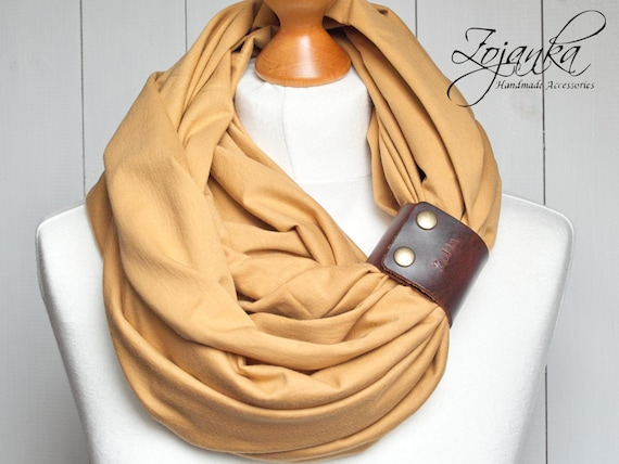 Cotton Infinity Scarf with leather cuff for women,  all season tube scarf with leather cuff,  fashion scarf, scarf with strap