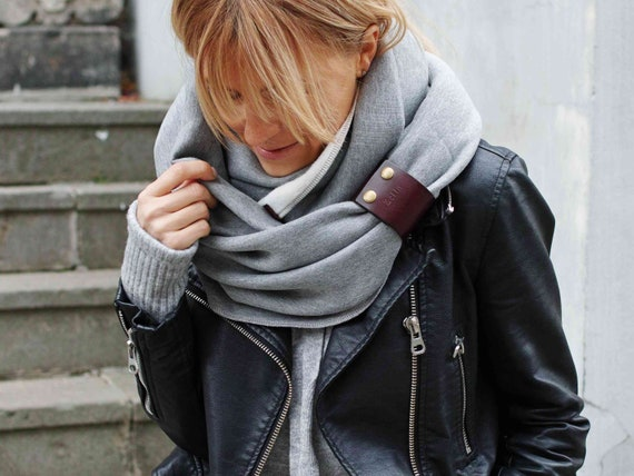 CHUNKY SNOOD infinity scarf for winter - women infinity scarf with leather cuff, extra chunky snood - fashion sweatshirt jersey scarf