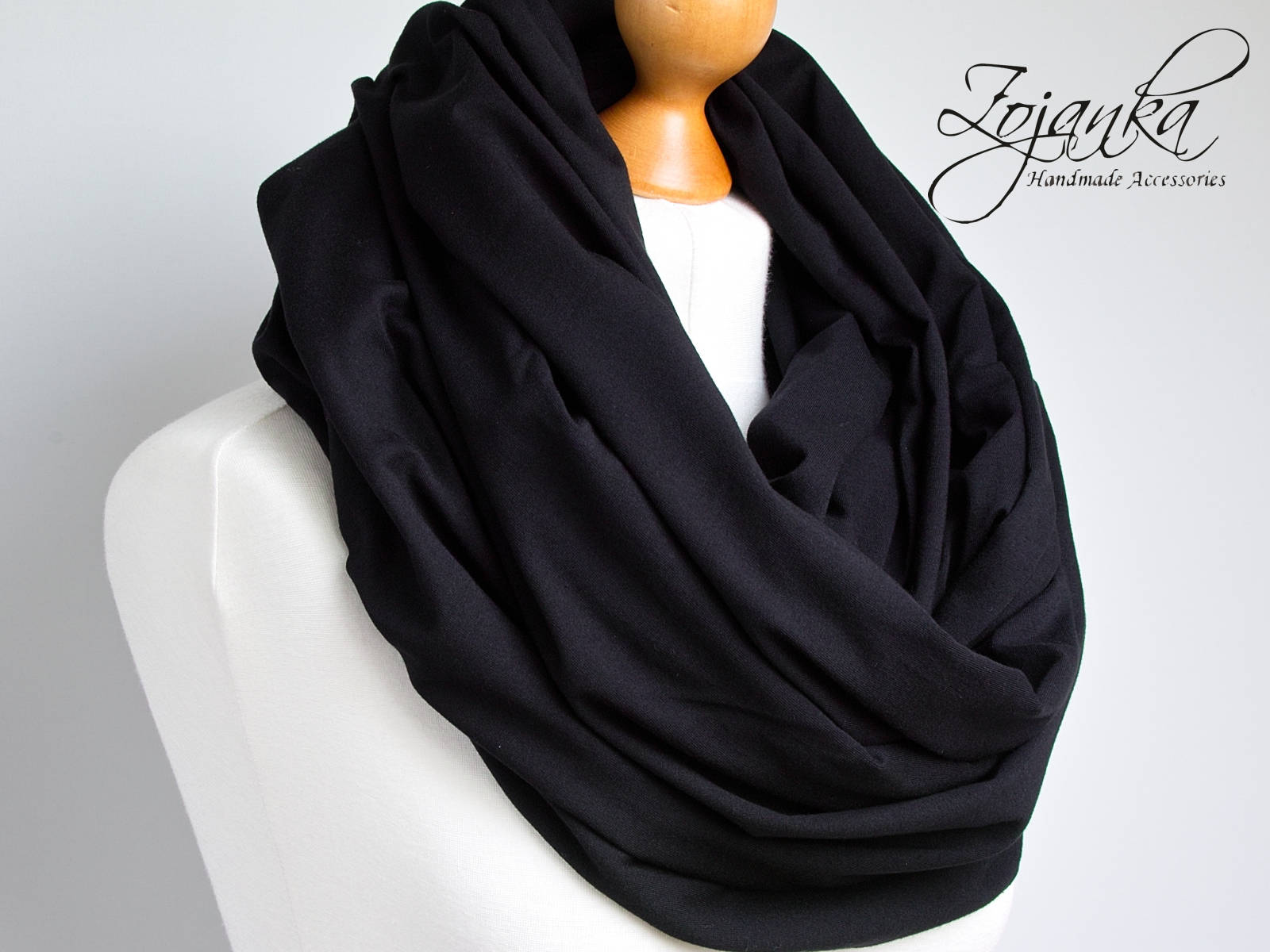 bcc77a666 Oversized Infinity Scarf, BLACK infinity scarf, Chunky large snood ...