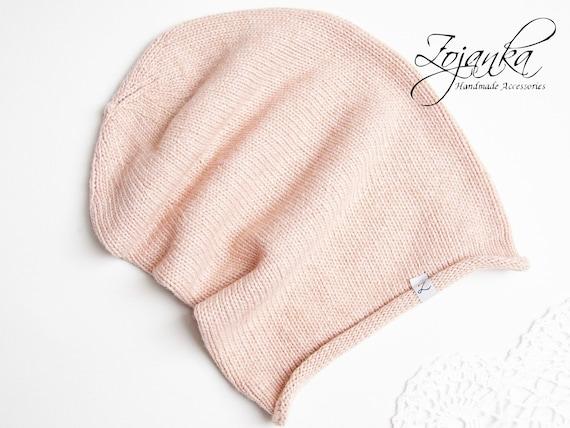 Winter KNIT beanie, hat, winter slouchy beanie, fall beanie, light pink knit hat, autumn accessories