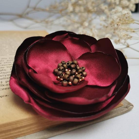 BURGUND fabric Flower BROOCH Pin for dress, small gift ideas for her - flower Pin Organza Satin handmade