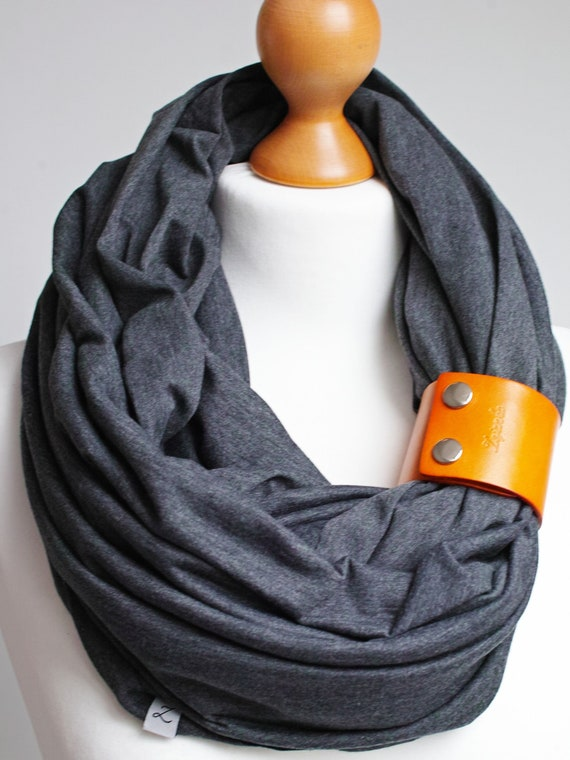 ANTHRACITE Infinity scarf for women, lightweight cotton tube scarf with leather cuff for spring autumn