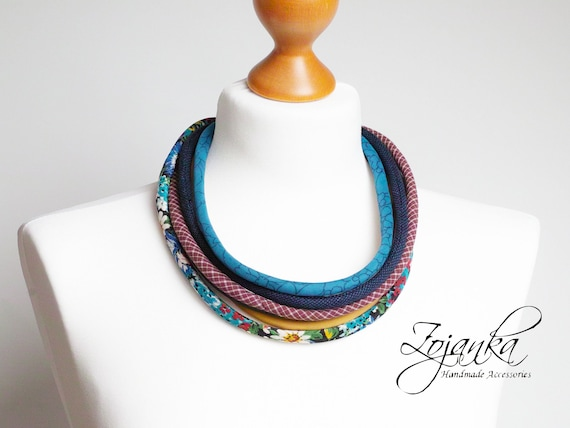 COLORFUL necklace for women, layered textile necklace, fabric jewelry, fashion gift ideas, simple jewelry, women accessories
