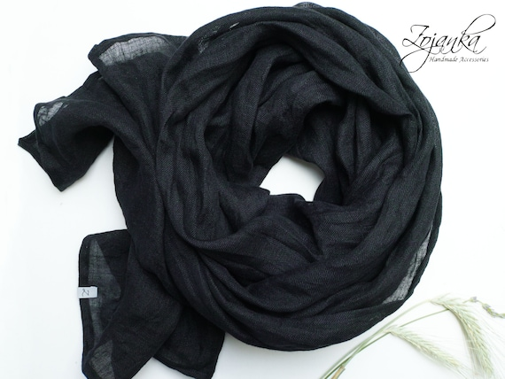 BLACK linen scarf lightweight  linen scarf SHAWL wrap women, natural linen  eco  scarf fashion, linen accessories women