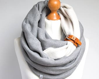 EXTRA CHUNKY Infinity Scarf with leather cuff, hooded scarf, infinity scarf, cozy SNOOD, simple winter scarf, gift ideas, chunky wrap scarf