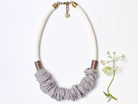 Unique textile necklace for women, simple short necklace - fabric necklace for friend, simple handmade women necklace