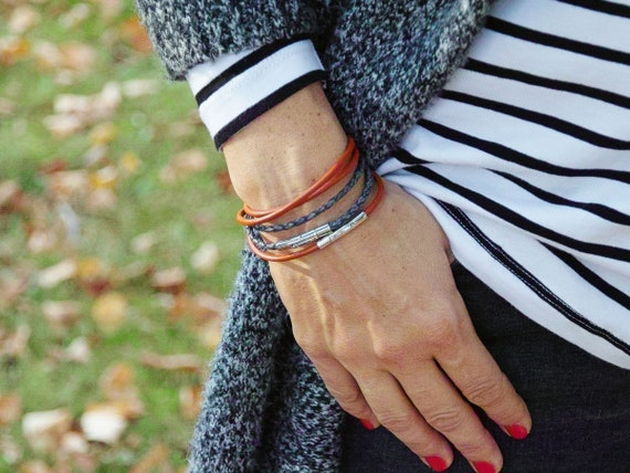 Leather bracelets SET of 3, leather cord bracelets for women, boho style bracelet set of three, bangles, stacking bracelets