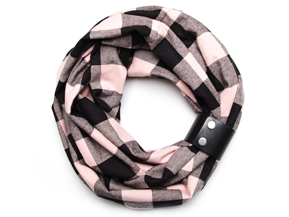 Plaid flannel infinity scarf for autumn, fashion infinity circle scarf with leather cuff, plaid autumn scarf buffalo