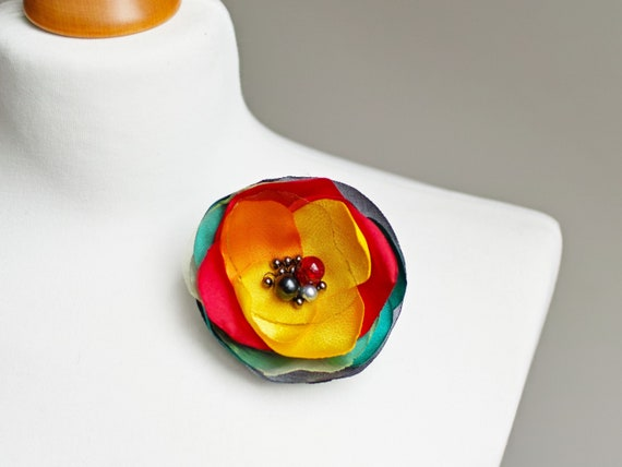 Fabric flower BROOCH for women, Pin Petal Flower Pin Organza handmade pin, colorful floral brooch corsage, textile accessories