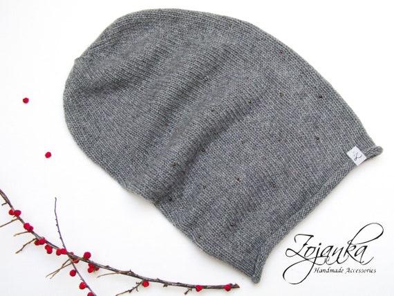 WINTER beanie slouchy hat for women, wool slouchy beanie, fall beanie, grey knit hat, autumn accessories, gray wool beanie hat