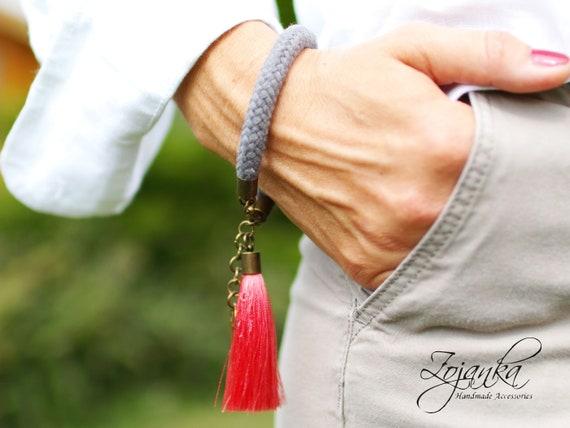TASSEL rope bracelet for women, simple bracelet for autumn summer gift ideas,  cotton rope bracelet with tassel, fabric bracelet