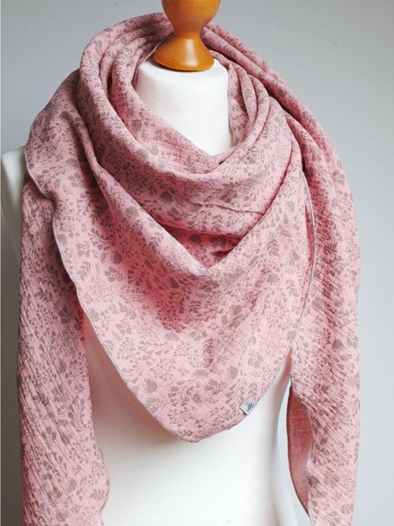 Cotton muslin women scarf shawl, cotton triangle scarf  - soft scarf - scarf for women, girls