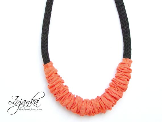 ORANGE statement necklace, textile necklace, statement necklace for women, t-shirt necklace,  necklaces for women, summer accessories