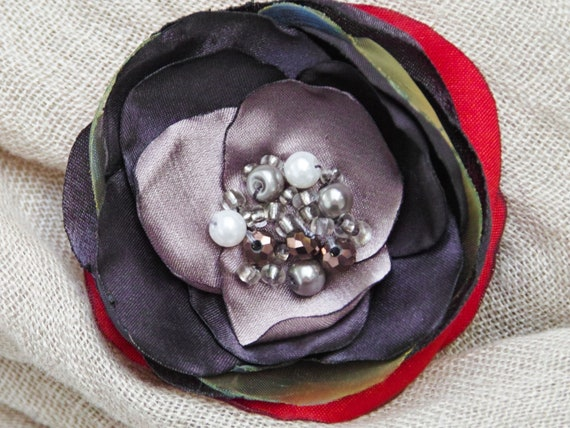 Fabric flower BROOCH Pin Petal Flower Pin Organza handmade pin, RED floral brooch corsage, elegant flower brooches, gift ideas for her