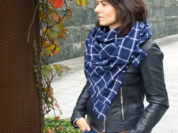 Blanket scarf WRAP, large cotton scarf, llightweight plaid scarf in blue colour,  fashion oversized scarf, gift ideas, cotton wrap