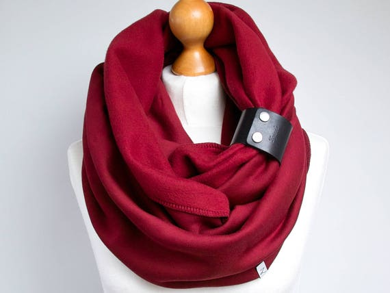 DARK RED Infinity Scarf with leather cuff for winter, tube scarf with cuff,  chunky infinity scarf for women, maroon scarf, hooded  scarf