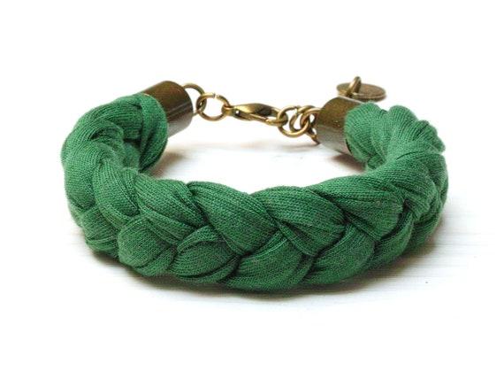 Cotton  braided bracelet women, summer accessories, GREEN bracelet jersey fabric, braided bracelets, friendship bracelet, summer jewelry