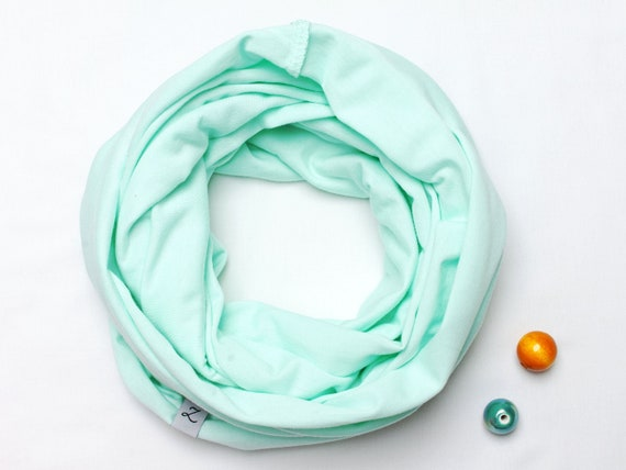COTTON infinity scarf for 3-6 years old, KIDS scarf, spring kids scarf, mint infinity scarf for girls