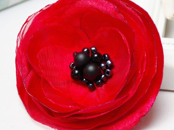 Fabric flower BROOCH Pin Petal Flower Pin Organza handmade pin, POPPY RED floral brooch corsage, elegant flower brooches, gift ideas for her