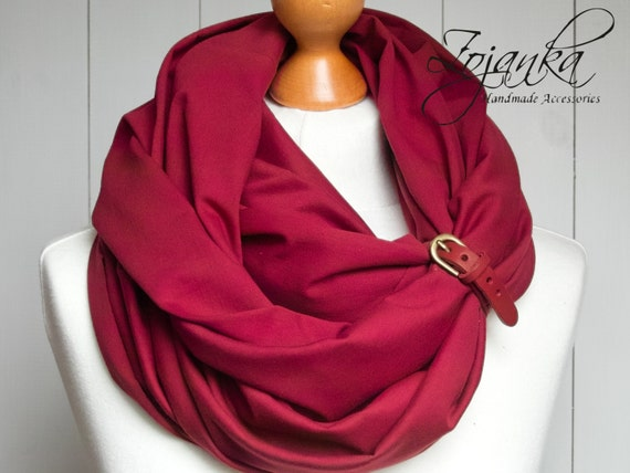 BURGUND Infinity scarf, lightweight cotton tube scarf with leather cuff, maroon infinity tube scarf, plain scarf with cuff