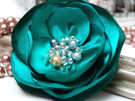 Floral Pin brooch, organza satin handmade fabric flower brooch, textile brooch, emerald flower brooch, textile accessories, GREEN flower pin
