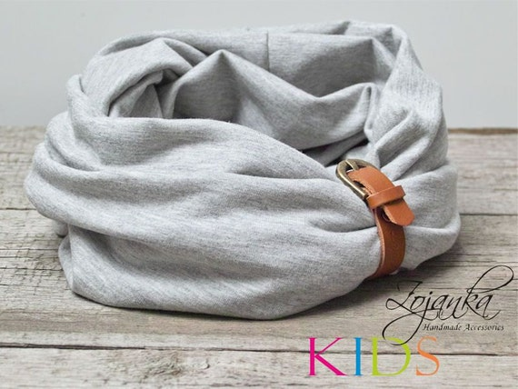 KIDS Infinity Scarf with strap, LIGHT GREY kids scarf, spring fashion, kids acessories,  5-8 years old, accessories