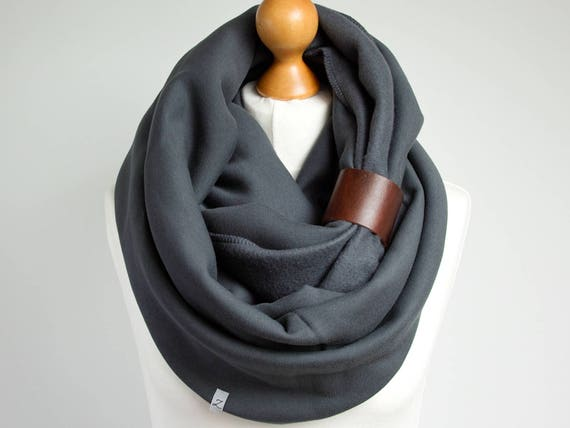 CHUNKY Infinity Scarf with leather strap, xxtra chunky snood, hood infinity scarf, anthracite snood, xmas gift ideas, winter gifts