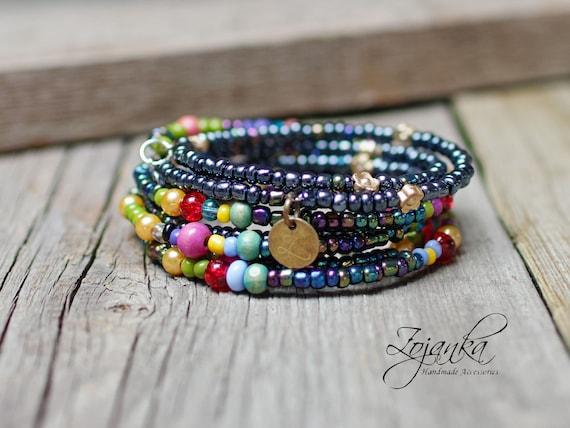 BOHO seed beads bracelets,  memory wire bracelets for women, bohemian bracelets