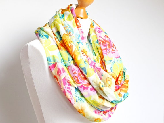 Lightweight summer infinity scarf  for women, floral pattern scarf for women , mum girlfriend gift idea, lightweight scarf wrap