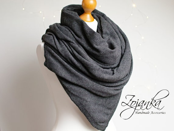 LARGE oversized WOOL scarf, gray wool scarf for women,  scarf wrap for winter,  gift ideas for her-mum-sister, wool cashmere chunky scarf