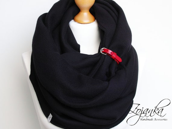 COSY SCARF with leather strap, extra CHUNKY Infinity Scarf with leather cuff, winter fashion infinity scarf, black chunky scarf, gift ideas