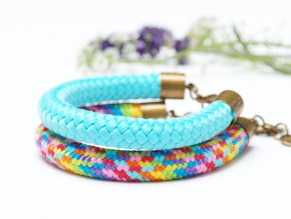 Rope colorful bracelets for women set of two, simple rope bracelets for summer gift ideas,  rope bracelets for women