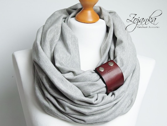 Cotton infinity scarf with strap, tube scarf for women, mediumweight scarf with leather cuff, fashion infinity scarf for women, gift ideas