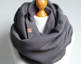 CHUNKY Infinity Scarf for women, anthracite cotton jersey winter infinity scarf, CHARCOAL knitted jersey infinity scarf, hooded scarf