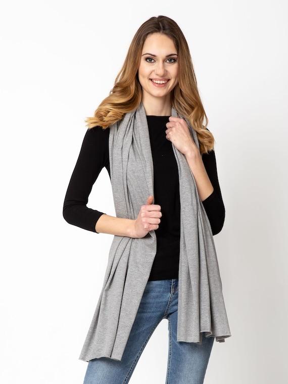 Cotton shawl, gray scarf, fashion lightweight cotton jersey scarf, women accessories, ecofriendly scarf shawl wrap, cotton wrap, cotton wrap
