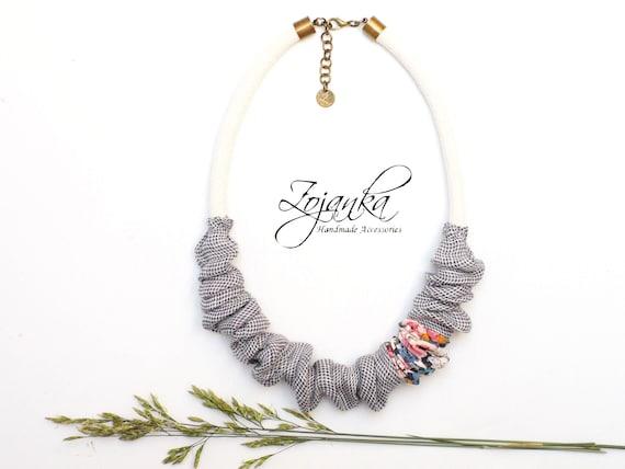 Unique textile necklace for women, simple short necklace - fabric necklace for friend, simple handmade necklace