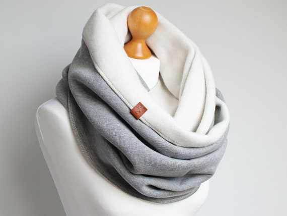 GRAY CHUNKY Infinity Scarf, infinity scarf for winter, extra CHUNKY hooded snood, winter scarf, cozy snood, sweatshirt jersey scarf