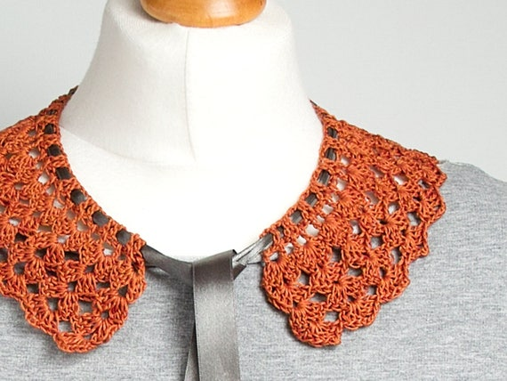 RETRO COLLAR Crochet collar, peter pan collar, rusty collar necklace, retro style, crochet jewelry, crochet necklace, dettachable collar