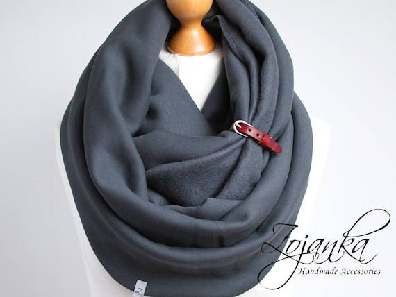 CHUNKY Infinity Scarf with leather cuff, winter fashion infinity scarf, charcoal snood, anthracite scarf, simple sacrf, warm snood, SCARF